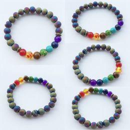 Perles d'agate arc-en-ciel en Ligne-Yoga Agate Bracelet Spirituel Bracelet Poignet Mala Bracelets Arc-En-Perles Yoga Bijoux Charm Givré Méditation Bracelet B915S