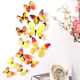 Wholesale Kids Cartoon Bedroom Furniture - 12pcs Bag New Arrival Screen Printing Stereo PVC Simulation Butterfly Wall Decals Home Party Furniture Decor Wall Applique Decorative Mural