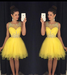 Wholesale White Bling Cocktail Dresses - 2016 New Cocktail Dresses Bling Crystal Beads Illusion Neck Yellow Tulle Short Mini Homecoming Dress Formal Party Dress Prom GownsFor Women