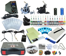 Wholesale Beginners Tattooing Kit - Complete Tattoo Kit 2 Machine Coil Gun Set Equipment Power Supply 15 Color Inks TKP-D2-5