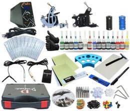 Wholesale Tattooing Beginner Kits - Complete Tattoo Kit 2 Machine Coil Gun Set Equipment Power Supply 15 Color Inks TKP-D2-5