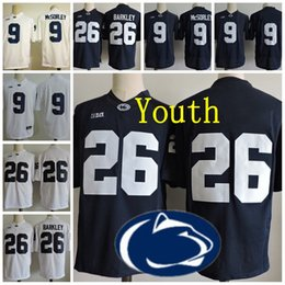 Wholesale Big Ten - Youth Penn State Nittany Lions #9 Trace McSorley 26 Saquon Barkley Kids Big Ten Penn State Navy Blue White Stitched College Football Jerseys