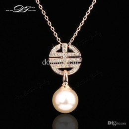 Wholesale Simple Gold Necklace For Wedding - Simple Elegant Classic Designer CZ Diamond Pearl Vintage Necklace &Pendant Wholesale Crystal Wedding Jewelry For Women DFN142