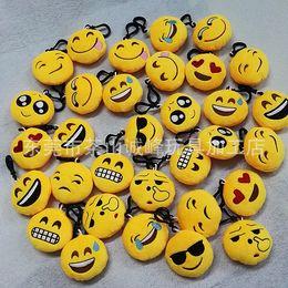 2019 sacs d'émotion 20desgin QQ Porte-clef 5.5 * 2.5cm Emoji Smiley Petit Keychain Emotion Jaune Expression QQ farcies poupée en peluche pour sac pendentif sacs d'émotion pas cher