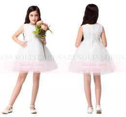 Wholesale Babyonline Wedding Dresses - Hot Babyonline White Lace Short Flower Girl Dresses Cute Knee Length Jewel Applique Baby Girl Birthday Party Christmas Communion Gown CPS315