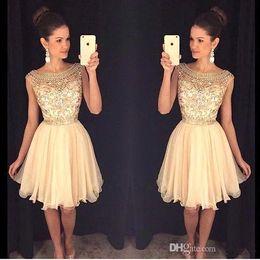 Wholesale Mini Stones Dress - 2017 New Scoop Neck Chiffon Homecoming Dresses Sheer Beaded Stones Top Mini Short Party Prom Dresses BA3501