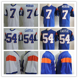 "Wholesale Custom Stitched Jerseys - Custom 2017 Cheap Men's White ""Blue Mountain State"" Movie Jersey Mesh Blue #54 Kevin Thad Castle Jersey #7 Alex Moran Jersey Stitched"