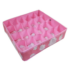 Wholesale Order Neckties - 3 In 1 Pink Grid Pattern Folding Storage Box Bag Bra Underwear Necktie Sock Storage Box Underwear Rangement Organizer order<$18no track