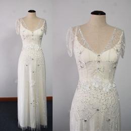 Wholesale Sheath Beaded Wedding Dresses - 2017 Real Images Beaded Wedding Dresses Sheath with Embroidery Inner Bling Chapel Train Wedding Gowns Dhyz 01