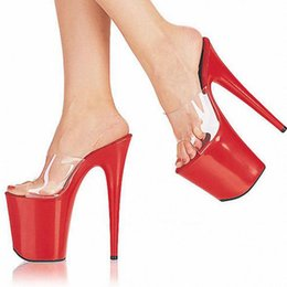 Wholesale Customized Sandals - Customize Extreme High Heel 20cm Heel 10cm Platform Pvc Sexy Fetish Sandals Peep Toe Women High Heel Model Sandals D0202