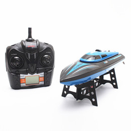 Wholesale Rc Children Boat - Wholesale- H100 Blue RC Boat 2.4GHz 30km h 4 Channel High Speed Remote Control 4CH 180 Degree Turnover RC Toys for Children 150m 8min