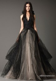 Wholesale Tulle Gothic Dress - New Arrival Gothic A Line Wedding Dresses Deep Halter Sexy Backless Lace Bridal Gowns Tulle Ruffles Sweep Train Vestido De Noiva