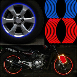"""Wholesale 16 Black Rims - 16 Pcs Strips Wheel Stickers and Decals 14"""" 17"""" 18"""" Reflective Rim Tape Bike Motorcycle Car Tape 5 Colors Car Styling Decals"""