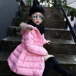 Wholesale Babys Coats - New Style Babys Kids Girls Jackets Down Coat Warm Clothes Fur Collar Hoodie Down Jackets Autumn Winter Outwear Red Pink Duck Down Coat