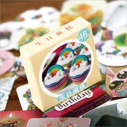 boîte d'étiquettes Promotion Vente en gros- 46 Pieces / Box Mini Anniversaire Cake Papier Stickers Décorations Diy Album Diary Clip Labels Enfants Papeterie Autocollants