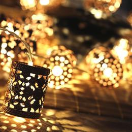 Wholesale White Round Lanterns - Steel Retro Carving Round Lantern Battery Operated Led Fairy String Christmas Lights DIY for Christmas Xmas Tree Wedding Party Decor