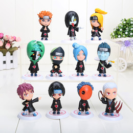 Wholesale Japanese Anime Wholesale - 11pcs set Japanese Anime Naruto Akatsuki PVC Figure Collectable Model Toys Doll Gifts for Birthday approx 6.5cm