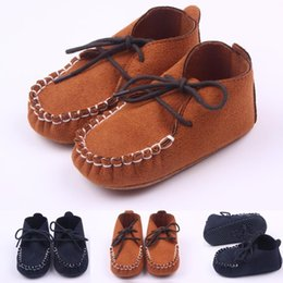Wholesale Navy Baby Shoes - 2016 New Moccasin Microsuede Lace-up Baby shoes First walker Toddler Baby boy Shoe Brown and Navy Colors