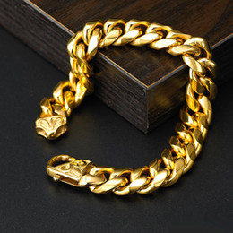 2019 braccialetto di collegamento cubano oro pesante Bracciale da uomo a catena da uomo con catena in acciaio inossidabile 316L a rombo pesante pesante 14mm braccialetto di collegamento cubano oro pesante economici