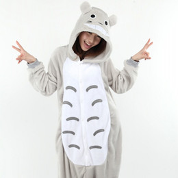 Wholesale womens xxl clothing - Wholesale- Costumes Full Flannel Totoro Pijamas Pajamas Pyjamas For Womens Adult Onesies SleepWear Home For Cheep Clothing Plus Size AS XXL
