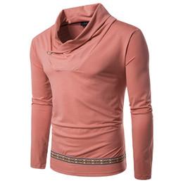 Зима теплая нижняя рубашка реальная мода сплошной цвет вороха воротник пальто маятник этническая лента мужская повседневная с длинными рукавами футболки от