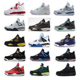 Wholesale Retro White Cement - Air retro 4 men Basketball shoes Military Motosports blue Alternate 89 Pure Money White Cement Royalty bred Fire Red Black Cat oreo sneakers