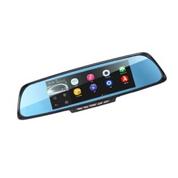 "Wholesale Dual Rear View Camera - 6.86"" Touch RAM 1GB ROM 16GB 2 Split View Android GPS Navigation Mirror Car DVR dual lens camera rear parking WiFi FM Transmit"