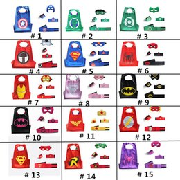 Wholesale Children Hero - DHL Halloween Party Children's Double Layer Superheros Cape Mask Set Super Hero Cape Mask Wrist Band Belt Cuffs Set for kids Christmas