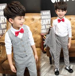 Wholesale Wholesale Boys Blazers - 2016 Autumn Children Clothing Sets Korean Children Clothing Boys Blazer Suits Waistcoat + Shirts + Pants 3pcs Sets Kids School Outfits 9369