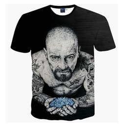 Wholesale Tattoo Sleeve T Shirts Men - Harajuku Women Men Vintage Black t shirts tees Breaking Bad Heisenberg 3d t shirt Funny Tattoo Men tshirts casual tee shirts
