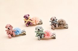 Wholesale kawaii hair clips - 20pcs Fashion Headwear Cute Bear Hairpins Solid Kawaii Lace Pom Pom Animal Hair Clips Elastic Hair Bands Rubber Bands Rubber Gum Rope