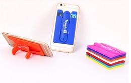 Deutschland Weißer LOGO-Druck mit blauem Smart Wallet-Telefonhalter Tragbar mit Kartensteckplatz Stander-Halterungen Stent Silikon-Telefonständer 3m-Aufkleber cheap blue brackets Versorgung