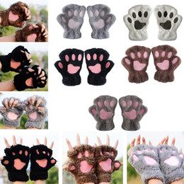 Wholesale Glove Christmas Tree - Bear Paw Glove Cute Animal Paw Fingerless Mittens Fluffy Warm Bear Plush Gloves Half Cover Female Gloves 13 Colors OOA2965