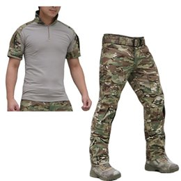 Wholesale Men S Cargo Shirts - Wholesale-Summer Outdoor Tactical Uniform Multicam Camouflage Suit Men Army Short Combat Shirt &Cargo Pants Paintball Hunting Clothes