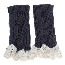 Wholesale Leg Warmer Boot Socks Gray - Wholesale-Attractive Good Quqality Women Crochet Knitted Lace Trim Boot Cuffs Toppers Warmer Leg Sock Wholesale AG27