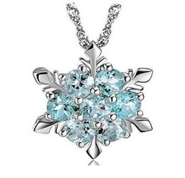 Wholesale Frozen Snow Shape Snowflake Pendant Necklace Elsa Snowflake Sterling Silver Necklace Chain Austrian Crystal Snowflake Necklace DHL