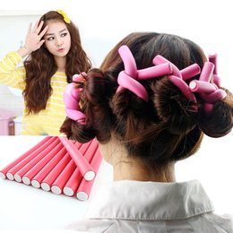 Wholesale Hair Rollers Curling Rods - Special beauty Hair Curling Magic Air Hair Roller Flexi Rods Curler Hair Roller Sticker tools 1.4CM