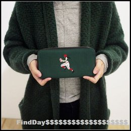 Wholesale Long Spanking - YIZI New Genuine Canvas Wallets Embroidery Long Wallet Women Bags Spanking Rugby Locomotive Dance 4 Style Free Shipping