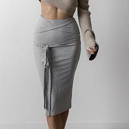 Wholesale Elastic Ribbon Belts - 2016110123 All-match high waist pencil skirt 2016 autumn grey women knitted skirts Sexy elastic bodycon skirt fabric ribbon belt