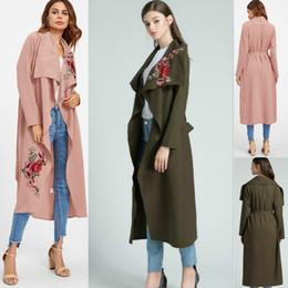Wholesale Women S Down Coat Belt - Women Autumn Cotton Embroidering Jacket Fashion Long Sleeve Outerwear Coats 2017 Turn-down Collar Winter Casual Open Stitch Irregular Coats