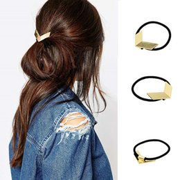 Wholesale Elastic Hair Band Shine - New V shape Pony Tails Holder bands for Women girls shining Gold plated Elastic hairbands metal Lady Fashion hairwear Hair Jewelry for gifts