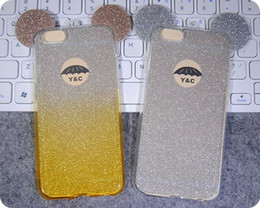 Wholesale Ear Stickers - 2016 Hot Bling TPU Cover Glitter Sticker Mickey Ear Gradual Soft Shell Case for iPhone 6 6S 6Plus