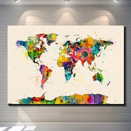 Wholesale Map Canvas Art - Vintage Watercolor map of the World Pictures Painting Canvas Poster Painting Prints Hotel Bar Garage Living Room Wall Home Art Decor Poster