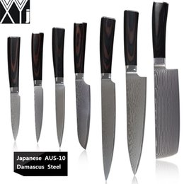 "knives choppers Promo Codes - XYJ damascus kitchen knives 8"" chef carving knife 7"" chopper 5"" santoku 5"" 4.5"" utility 3.5"" paring knife Aus-10 steel knives"
