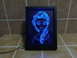 Wholesale New Style Wedding Frames - 2016 New Style Princess 3D RGB LED Optical Photo Frame DC 5V or AAA Battery 7 Colors