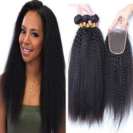 Wholesale 4x4 Top Piece Hair - 9A Grade Brazilian Afro Kinky Straight Hair With Closure 4Pcs Lot Italian Coarse Yaki Lace Top Closure Pieces 4x4 With Human Hair Bundles