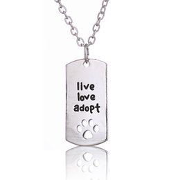 vintage mens chain pendant Promo Codes - Vintage Silver Plating Dogs Paw Jewelry Live Love Adopt Pet Series Square Animal Pendant Necklace Mens Jewelry New Arrival