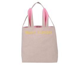 Wholesale Wholesale Jute Totes - 10pcs lot Free Shipping 2016 Newest Cotton Burlap Easter Gift bag Tote Jute Easter Bunny bags With Bunny Ears Easter Baskets