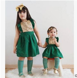 Wholesale Kids Ruffled Cotton Shorts - Baby girls princess dresses Infants Sequins falbala fly sleeve dress children Button back pleated dress summer new kids clothing G1135