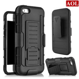 Iphone 5s holster online-Zukunft Rüstung Auswirkungen Hybrid Hard Case Cover + Gürtel Holster Kickstand Combo für iphone 7 7 plus 6 6 s Plus 5 5 s SE 4 s